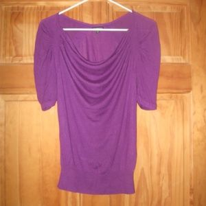 Womens Express Purple Elbow Sleeve Sweater